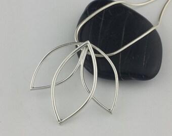 Lotus Flower Necklace, Unique Silver Pendant, Downward Lotus Necklace, Lotus Flower Necklace, Argentium Silver, Lotus, Elegant Necklace