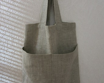 Natural linen tote bag, burlap shopping bag, rustic linen bag