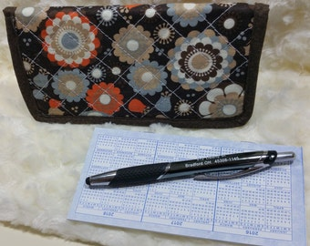 Quilted Checkbook Cover, Floral Checkbook Cover, Floral Checkbook Cover, Check Holder, Checkbook Holder, Checkbook Register, Brown Multicolr
