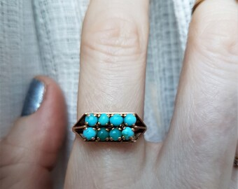 Vintage turquoise ring in 18k gold, clean lines, great for stacking or as a solitaire.