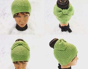 Messy Bun and Bow Hat Beanie in Pantone Greenery -- Variety of Other Colors -- Handmade Crochet