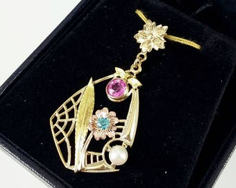 Vintage 1930s 10k Gold Pendant with Pink & Blue Zircon, Genuine Pearl