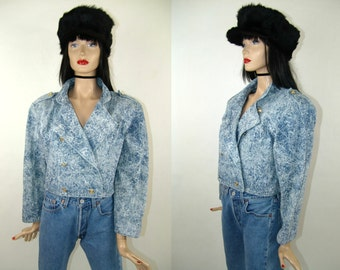 Denim biker jacket with shoulder pads and double golden buttons in military style, 1980's fashion