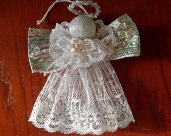 White Lace Silver Halo Wings Beaded Angel Christmas Holiday Tree Ornament Vintage