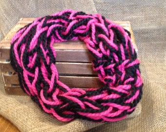 Pink and Black Arm Knit Scarf (for teens)