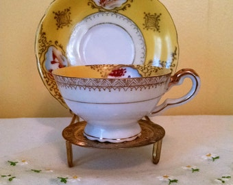 Occupied Japan Demitasse Tea Cup & Saucer Set Yellow Landscape Scene Vignette Shabby Cottage Chic Small Teacup and Saucer Gold Trim UCAGCO