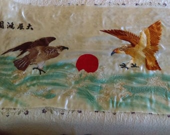 Vintage Japanese Silk Embroidery Raising Sun Eagle Hawk