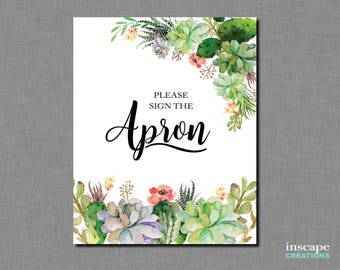 Succulents - Please Sign an Apron - Bridal Shower Activity, Country Please Sign the Apron for the Bride Game, Wedding Shower, Kitchen Shower