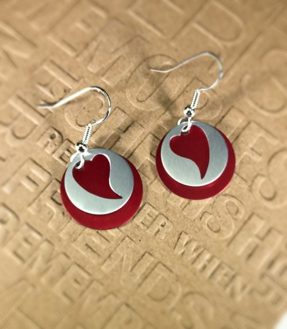 Silhouette Earrings: Red Heart Silhouette Earrings