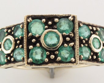 Vintage Fifteen Stone Emerald Ring