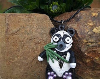 Necklace in fimo steampunk quilling panda