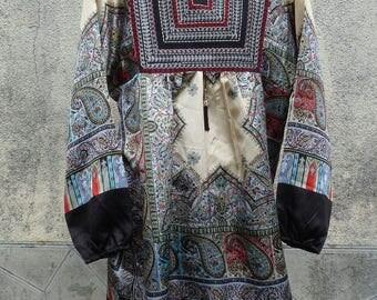 70S ethnic tunic satin dress