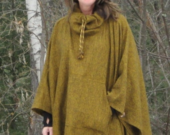 Golden Yellow Cowl Necked Flannel Poncho/Cape