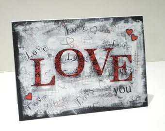 "Handmade original hand-painted card, mixed media art ""LOVE"""