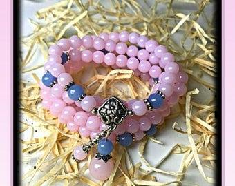 Genuine Crystal, Chalcedony Beads, 108 bead mala, pink mala, Crystal Bracelet, Healing Beads, Rosary, Reiki Jewelry, Meditation Beads, Yoga