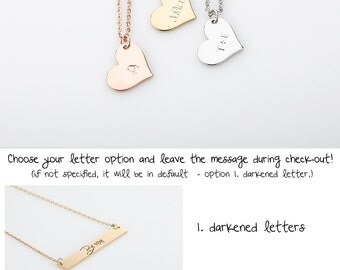 Rose Gold Name Heart Pendant Necklaces, Dainty Gold Initial Charm Necklaces, Will you be my Flower girl gift, Personalized Wedding Jewelry