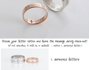 Custom Name Ring,Personalized Signature Ring, Rose Gold Promise Rings For Couples, Personalized Wedding Jewelry, Gift for men