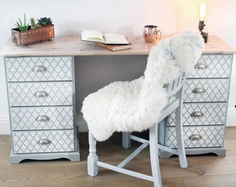 Hand Painted Grey and Ivory Desk with White Waxed Top