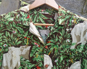 Vintage Jungle Elephant Aloha Shirt