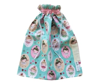 Library Bag Drawstring - Princesses with Wands - LIB125 - Girl - Book / Kindy Bag