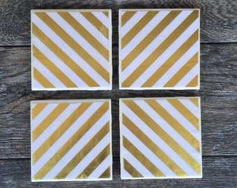 Gold and White Striped Coasters