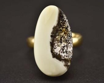 Drop Amber Ring, Shaped Ring, Gold Amber Ring, Amber Ring, Oval Amber Ring, Sterling Silver Ring, Adjustable Ring,