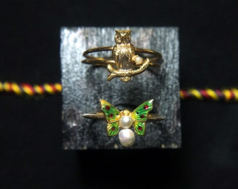 Antique Butterfly Owl Gold Rings Victorian 15k