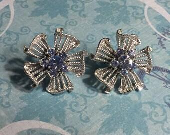 Vintage Silver Tone Blue Crystal Screw Back Earrings