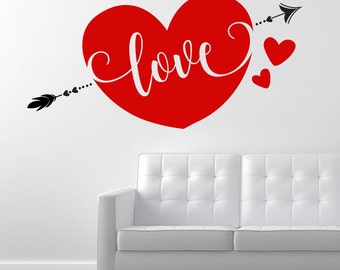 Love Heart with Arrow -  Vinyl Wall Decal / Sticker Quote