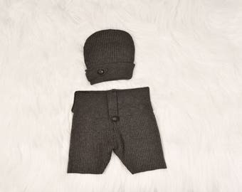 Newborn photography props Grey newborn short pants & hat set Newborn size photo prop