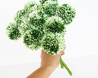 Garlics 12 Plastic Flowers Green White Garlic High Quality Artificial Flowers Greenery Filler Blossoms Leaves  Branch Wedding Decoration