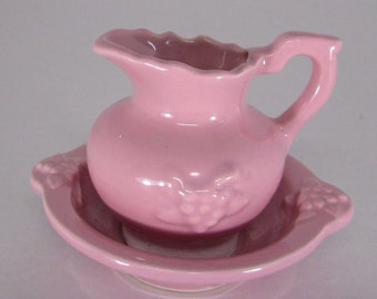 Vintage Water pitcher and bowl mini reproduction of the turn of the century wash pitcher
