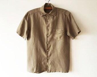 Khaki Brown Men's Linen Shirt Beige Brown Work Shirt Bohemian Summer Short Sleeve Surfer Chemise Boho Hipster Lumberjack Size Large Shirt