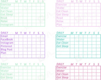 Assorted HABIT TRACKER Functional Planner Printable Trackers Sticker