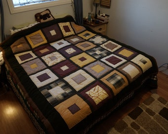 Queen Size Brown & Yellow Squares w/ Pieced Fleece Backing