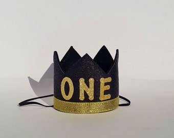 Black and Gold First 1st Birthday Party Crown Hat for Baby Cake Smash Photo Prop Pictures Boy Prince or Girl