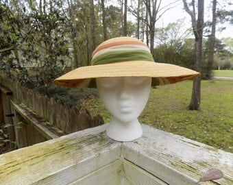 Vintage 40's 50's Fine Straw Wide Brim Easter Wedding Summer Sun Hat with Tulle Trim Size 22