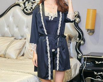 Pajama Set, Sleeping wear, Silk Satin, Wedding Gift, Getting Ready Robe,bridesmaid gift,bridal shower,get ready robe,gift,pajama,SIZE:M
