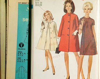 1967 Simplicity 7263 Misses Shift Dress and Swing Coat Size 14 OR 16 UNCUT FF Sewing Pattern ReTrO!