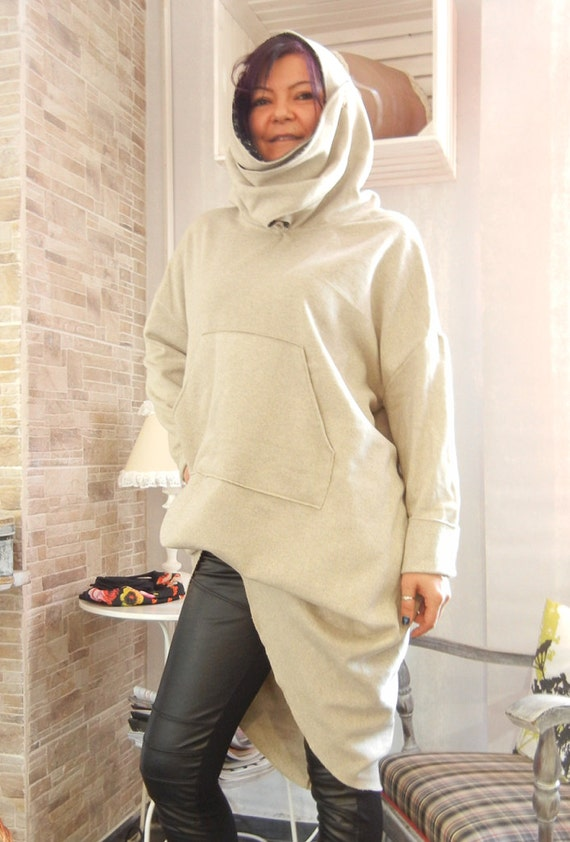 Fall Winter Top, Oversized Loose Asymmetric Hoodie, Flattering Quilted Cotton Warm Top, Cosmonaut Muff pocket Hoodie, Maxi Warm Top