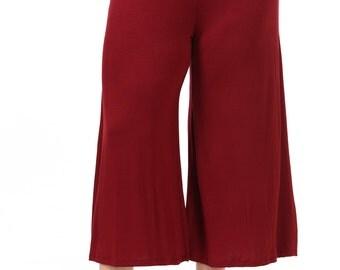 Elastic Waist Wide Leg Crop Culottes Pants Plus Size Burgundy
