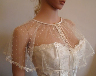 Small off-white/ivory dotted tulle and lace cape with high quality