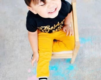 Baby leggings - Toddler Leggings - Baby jeggings - Baby Clothes - mustard stripes -  baby pants