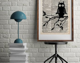 Owl Art Dictionary Print - Night Owl On Branch Artwork Vintage Decor - Owl Animal Decor Owl Wall Art - Night Owl Print Dictionary Art Print