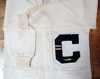 Vintage College Varsity Letterman Cream Colored Wool Sweater with Pins in Near Mint Condition ca. 1960's
