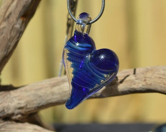 Hand Blown Glass Pendant - Silver Fumed Cobalt/Clear Heart Charm