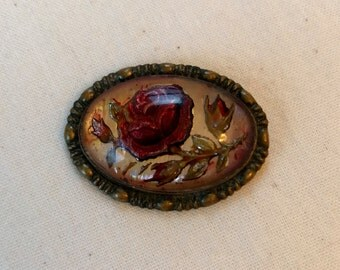Antique Goofus Glass Reverse Painted Roses Brooch