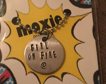 Girl on fire necklace or keyring Hunger Games