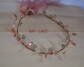 Rose Gold Wedding Hair Accessories Copper Hair piece Leaf Flower Hair Vine Wedding head band resin wire leaf flower band for women head piec