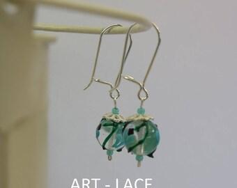 Sterling Silver earrings Dangle Turquoise earring art bead earring for women Gift for wife best friend Unique lamp work earring wedding gift